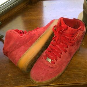 Nike Shoes - Red Hightop Air Force 1s